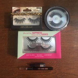 Set of 4 silk mink 3D false lashes